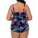 Trimshaper Slimming Control Floral One Piece Swimsuit Plus