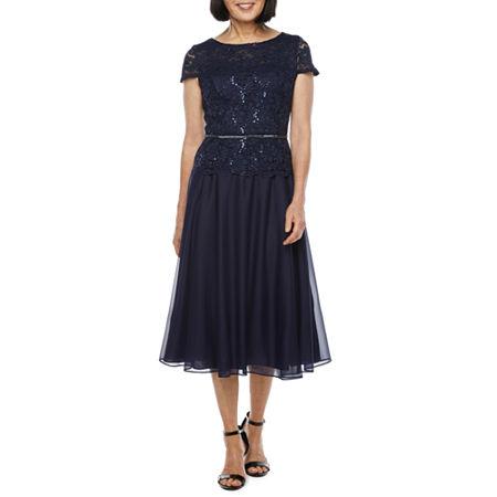 1940s Dresses   40s Dress, Swing Dress, Tea Dresses R  M Richards Short Sleeve Fit  Flare Dress 6  Blue $67.19 AT vintagedancer.com