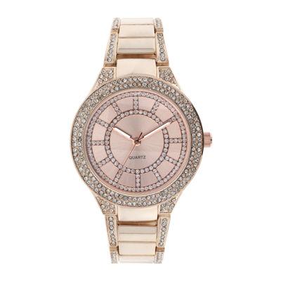 Womens Crystal-Accent Glitz Rose-Tone Bracelet Watch