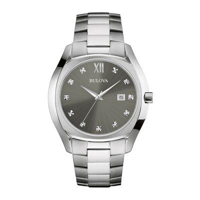 Bulova® Diamonds Mens Diamond-Accent Stainless Steel Watch 96D122