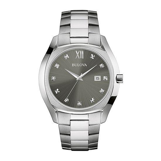 Bulova Classic Mens Silver Tone Stainless Steel Bracelet Watch-96d122