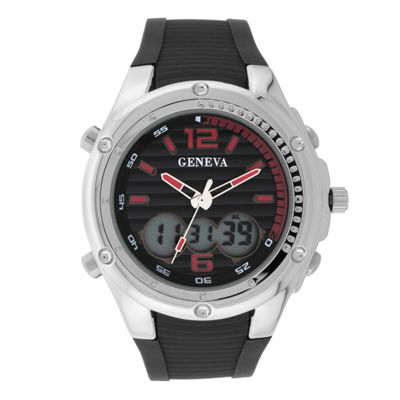 Geneva Mens Black and Silver-Tone Strap Watch