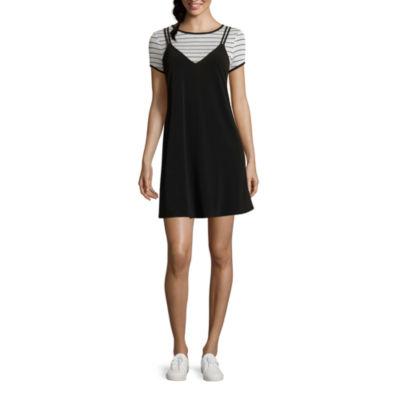 City Triangle Short Sleeve A-Line Dress-Juniors