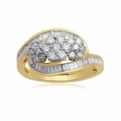 Diamond Blossom Womens 1 CT. T.W. Genuine White Diamond 10K Cocktail Ring