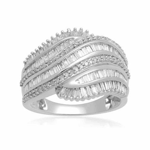 Womens 1 CT. T.W. Genuine White Diamond 10K Gold Cocktail Ring