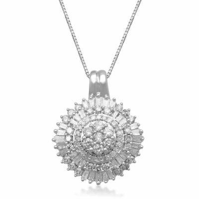 Diamond Blossom Womens 3/4 CT. T.W. Genuine White Diamond 10K Gold Pendant Necklace