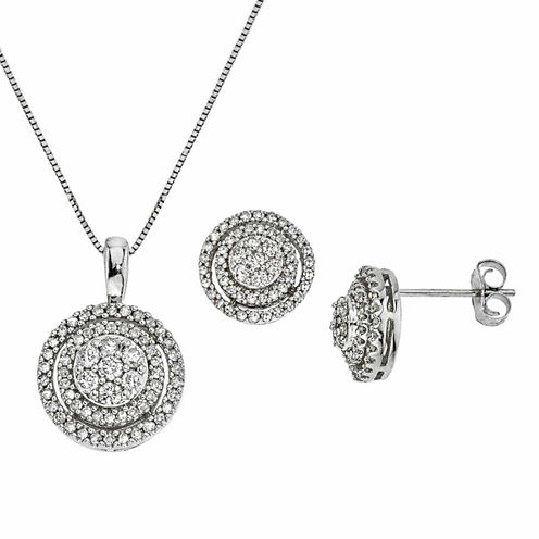 Diamond Blossom Womens 2-pc. White Diamond 10K Gold Jewelry Set
