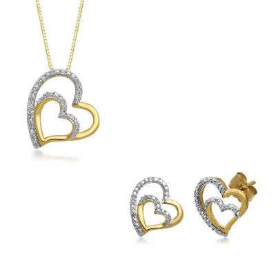 Genuine White Diamond 10K Gold 2-pc. Jewelry Set