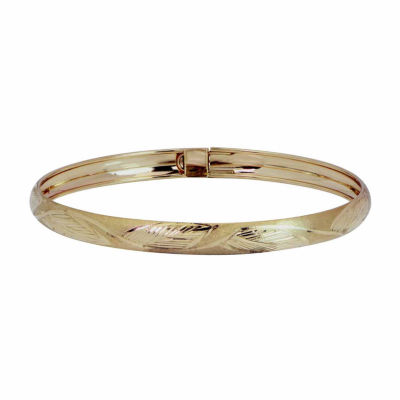Majestique 18K Yellow Gold 6mm Leaf Flex Bangle Bracelet