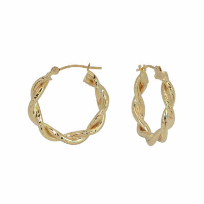 18K Yellow Gold 20mm Twist Diamond-Cut Hoop Earrings