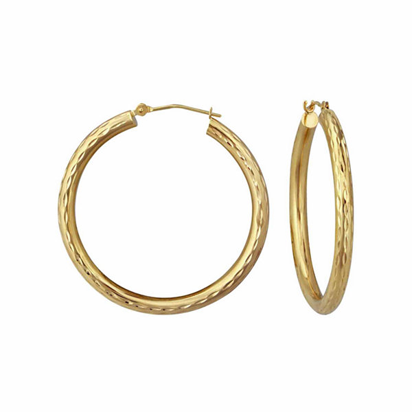18K Yellow Gold 30mm Diamond-Cut Hoop Earrings