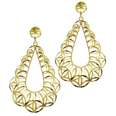 10K Yellow Gold Diamond-Cut Teardrop Earrings