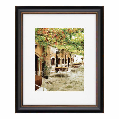 """Artcare 16x20"""" Tuscan Black & Gold Wall Frame, Matted To 11x14"""""""