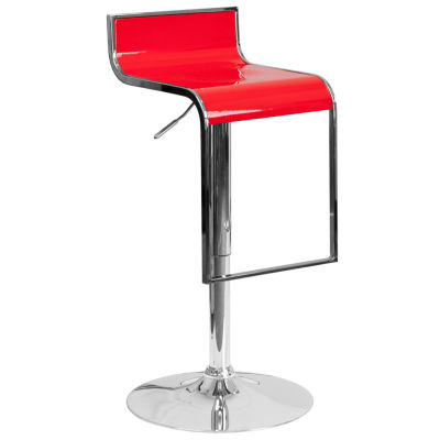 Contemporary Plastic Adjustable Height Barstool with Chrome Drop Frame