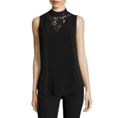 Worthington® Lace Inset Mockneck Top