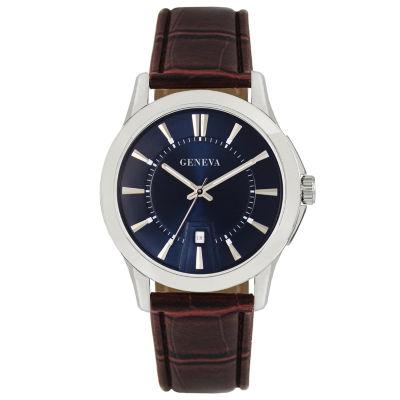 Geneva Mens Brown Strap Watch-Jry1776sl