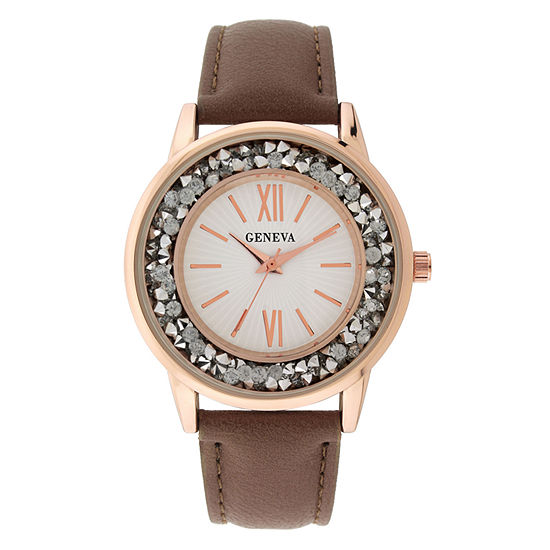 Geneva Womens Brown Strap Watch-18151