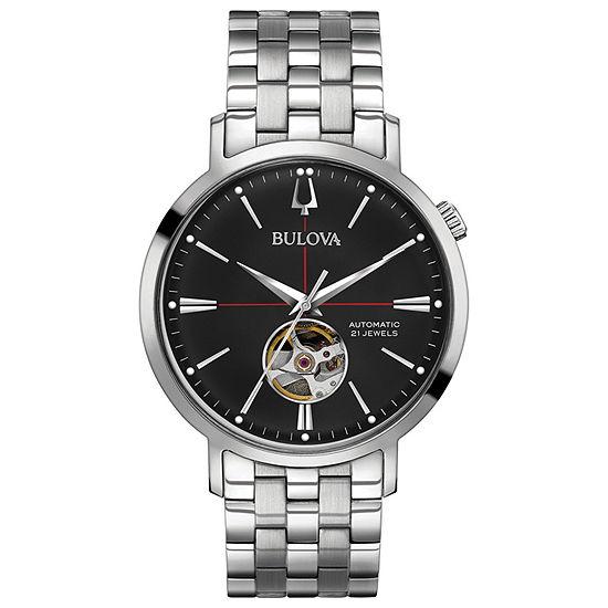 Bulova Aerojet Mens Automatic Silver Tone Stainless Steel Bracelet Watch-96a199