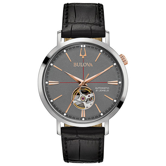 Bulova Aerojet Mens Automatic Black Leather Strap Watch-98a187