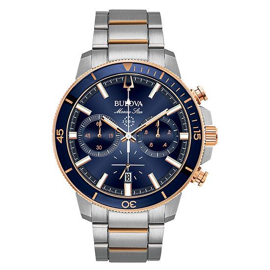 Bulova Marine Star Mens Silver Tone Stainless Steel Bracelet Watch-98b301