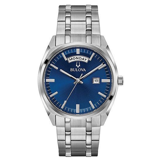 Bulova Surveyor Mens Silver Tone Stainless Steel Bracelet Watch - 96c125
