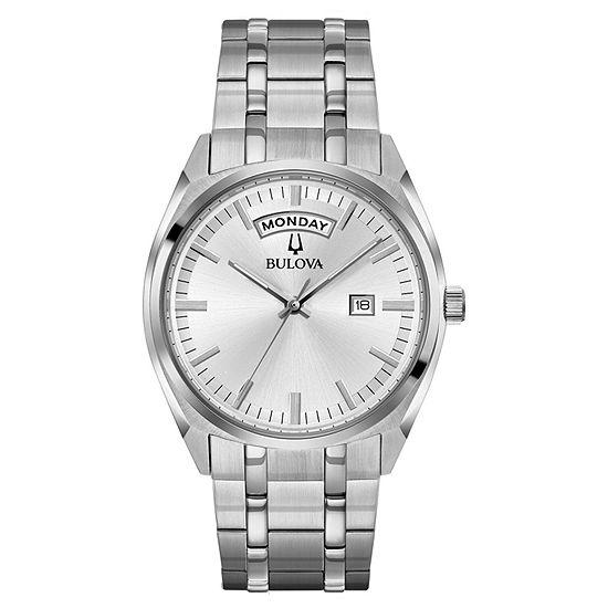 Bulova Mens Silver Tone Bracelet Watch 96c127