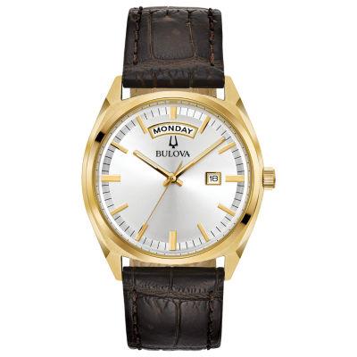 Bulova Mens Brown Strap Watch-97c106