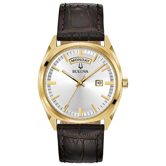 Bulova Surveyor Mens Brown Leather Strap Watch-97c106