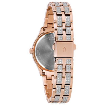 Bulova Womens Rose Goldtone Bracelet Watch-98n113