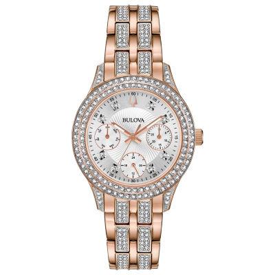 Bulova Womens Rose Goldtone Bracelet Watch-98n113