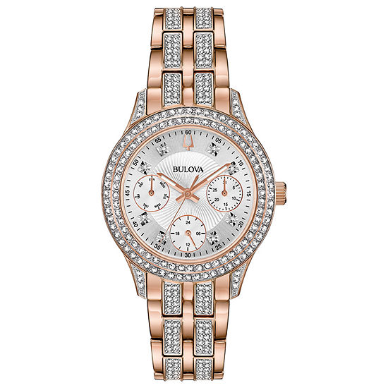 Bulova Crystal Womens Crystal Accent Rose Goldtone Stainless Steel Bracelet Watch-98n113