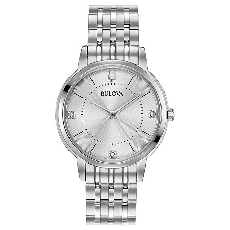 Bulova Classic Womens Diamond Accent Silver Tone Stainless Steel Bracelet Watch - 96p183, One Size