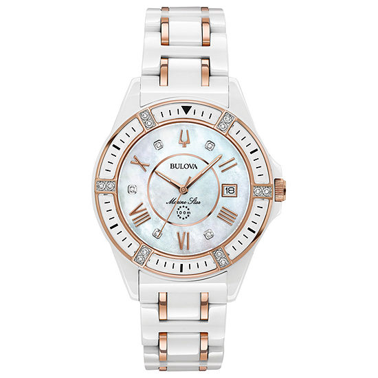 Bulova Marine Star Womens Diamond Accent White Bracelet Watch - 98r241