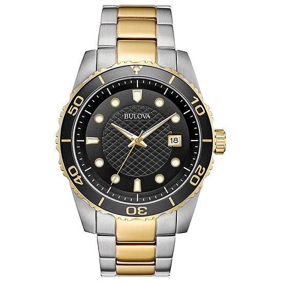 Bulova Mens Automatic Two Tone Stainless Steel Bracelet Watch - 98a199