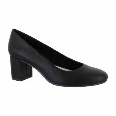 Easy Street Proper Womens Pumps Slip-on Round Toe Block Heel