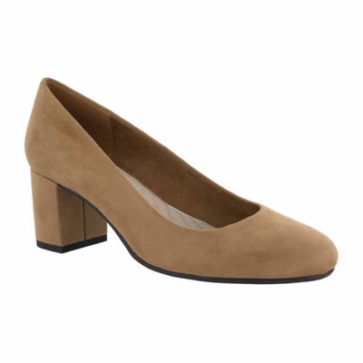 Easy Street Womens Proper Pumps Slip-on Round Toe Block Heel