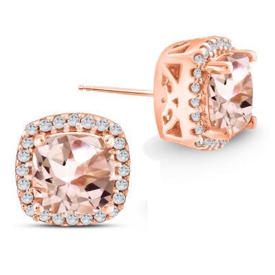 Genuine Pink Morganite 10K Gold 4.9mm Stud Earrings