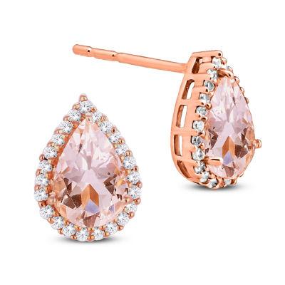 Genuine Pink Morganite 10K Gold 9.8mm Stud Earrings