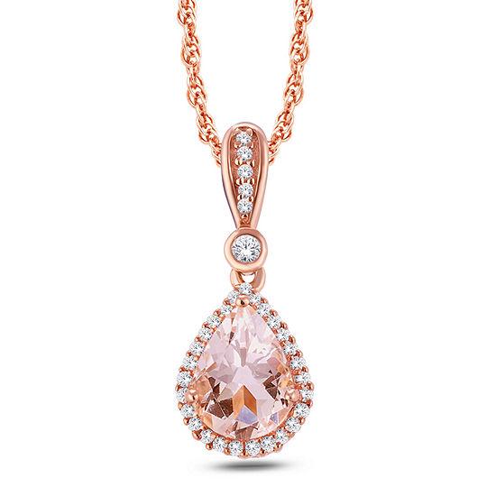 Womens Genuine Pink Morganite 10K Gold Pendant