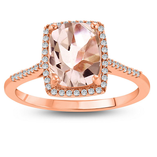Fine Jewelry Womens Genuine Pink Morganite 10K Gold Cocktail Ring yppjT1