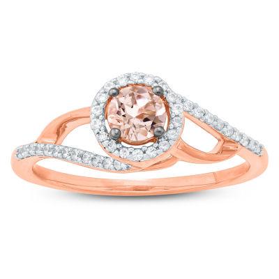 Womens Genuine Pink Morganite 10K Gold Cocktail Ring