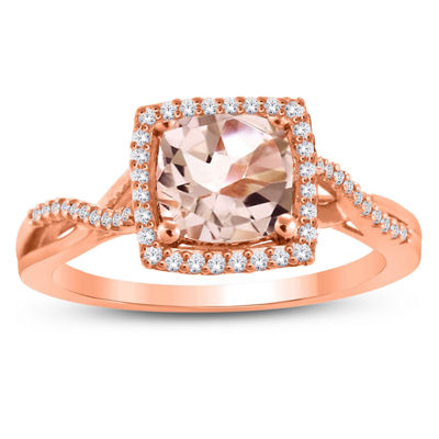 Womens Genuine Pink Morganite 10K Gold Halo Cocktail Ring