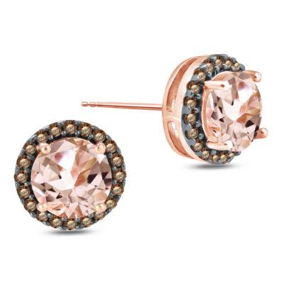 Genuine Pink Morganite 10K Gold 8.6mm Stud Earrings