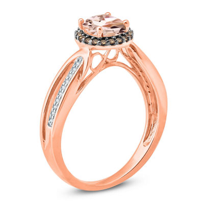 Womens Genuine Pink Morganite 10K Gold Cocktail Ring
