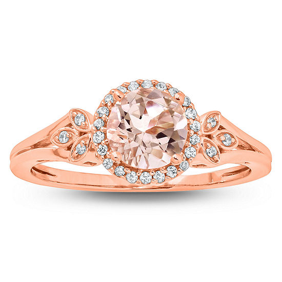 Womens Genuine Pink Morganite 10K Gold Halo Cocktail Ring
