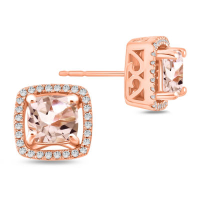 Genuine Pink Morganite 10K Gold 9.5mm Stud Earrings