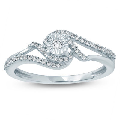 Promise My Love Womens 1/5 CT. T.W. Genuine Multi-Shape White Diamond Sterling Silver Promise Ring