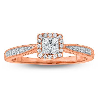 Womens 1/5 CT. T.W. Genuine Round White Diamond 10K Gold Promise Ring