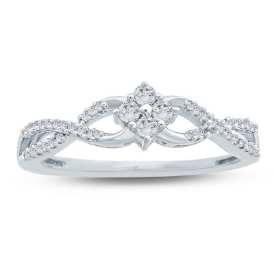 Promise My Love Womens 1/5 CT. T.W. Round White Diamond 10K Gold Promise Ring