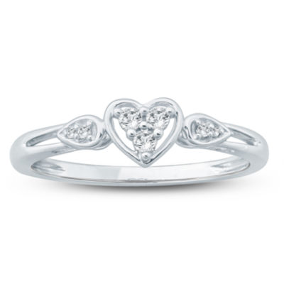 Promise My Love Womens 1/10 CT. T.W. Round White Diamond 10K Gold Promise Ring